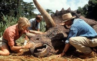 Dr. Sattler and Dr. Grant come face to face with a Triceratops